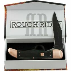 Couteau Rough Ryder Folding Hunter Copper Bolster Lame 440 Manche Os Rr1677