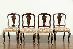 Set Of 4 Italian Antique Walnut Game Or Dining Chairs, Inlaid Marquetry 36499