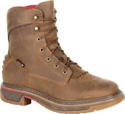 Menand039s Rocky Iron Skull Waterproof Lacer Western Boot Brown Full Grain Leather