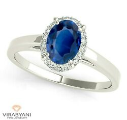 1.51 Ct. Natural Blue Oval Sapphire Ring With 0.20 Ctw. Diamond 14k White Gold