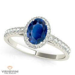 1.51 Ct. Natural Blue Oval Sapphire Ring With 0.25 Ctw. Diamond Platinum 950