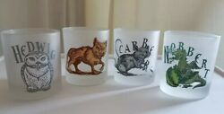 Very Rare Htf Harry Potter Set Of 4 Frosted Glass Tumblers Pet - Animal B4