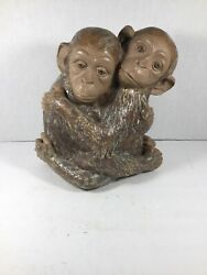 Lladro Hugging Monkeys Figure 8.75 Tall Hand Made In Spain Excellent Condition