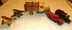 Vintage Wooden Model Toy Lot Airplanes Biplanes Slat Truck Fire Engine Train