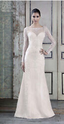 New Signature Collection Wedding Dress Size 12 Beaded Tulle With Long Sleeves.