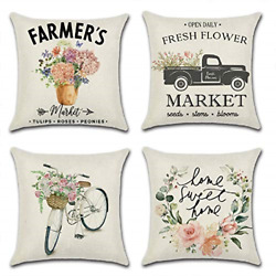 Farmhouse Floral Throw Pillow Covers Set of 4 18x18 Inches