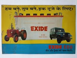 India Vintage Tin Sign Exide Jeep And Tractor Battery 15in X 9.5in