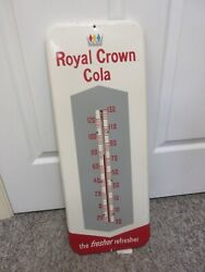 Vintage Advertsing Royal Crown Cola Pop Soda Store Tin Thermometer A-343