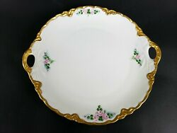 Ant Bavaria Selb Hutschenreuther 10 3/4 Handled Charger Plate Pink Rose