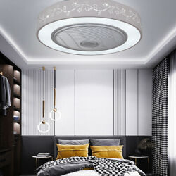 Led Modern Ceiling Fan Light Chandelier Dimmable Enclosed Round Lamps White 55cm