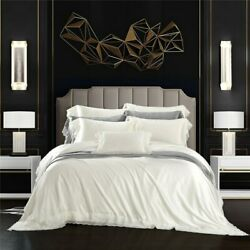 Luxury 100 Real Silk Solid Color Bedding Set Smooth Duvet Cover Sets Bed Sheet