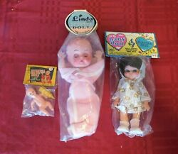 Vintage Set Lot Of 3 Five And Dime Store Dolls In Original Packing New