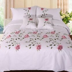 Cotton Soft Bedding Set Chic Embroidery White Pink Grey Duvet Cover Bed Sheet