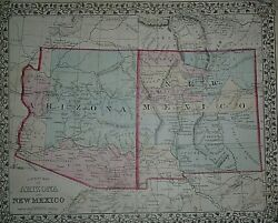 Rare Vintage 1878 Atlas Map Arizona - New Mexico Territory Old And Authentic