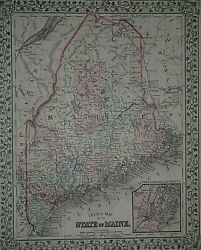 Rare Vintage 1878 Map State Of Maine - Portland Old And Authentic Free Sandh