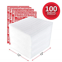 Enko 12 X 12 Inch 100-pack Foam Wrap Sheets For Moving Shipping Packing Supplies