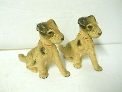 Vtg Pair Hubley Solid Cast Iron Wire Hair Fox Terrier Dog Bookends Art Figures