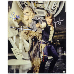 Harrison Ford Peter Mayhew Autographed Han Solo And Chewbacca 16x20 Photo