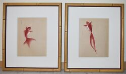 Tow Antique Japanese Watercolors Pages From Hand Painted About Fishes Book