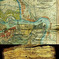 1810 12 Russia Russian History Book+ Hand Colored Engraving Map Saint Petersburg