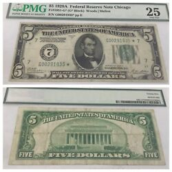 Vintage Pmg 5 Numerical 7 Star 1928-a Chicago Federal Reserve Note Five Dollar