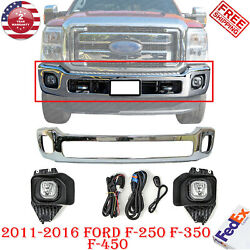 Front Bumper Chrome Steel + Fog Lamp Assembly For 2011-16 Ford F-250 F-350 F-450