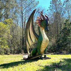 Winged Dragon Sculpture Medieval Gothic Green Festival Statue Smaug