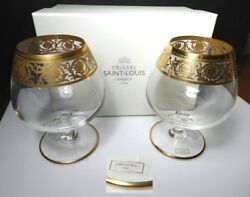 St Louis Crystal - France Thistle Brandy Glasses 2 New In Box