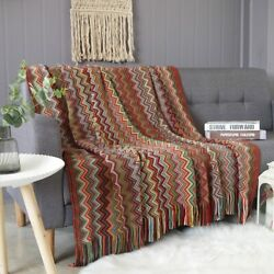 Multi-function Geometry Knitted Sofa Tassel Throw Blanket For Couch Home Textile
