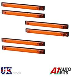 6x 12/24v Led Amber Side Marker And Clearance Light Truck Trailer Lorry E-mark