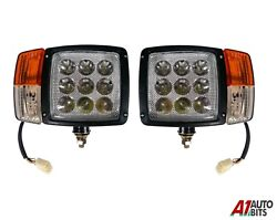Led Headlights Lights Lamp Indicator For Jcb Manitou Matbro 3 Functions Pair Of