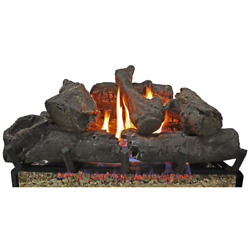 Vent Free Propane Flame Gas Fireplace Logs Insert Adjustable Height Fire 24 In