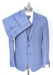 Nwt Caruso Blue Striped Tweed Wool Rolling 3/2 Button Suit 40 R Eu 50 Drop 6