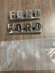 Vintage Ford Chrome Fender Side Emblems Original Pair 221