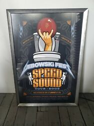 Rare 2009 Lebowski Speed Of Sound Tour Poster Framed Bowling Beer Movie Festival