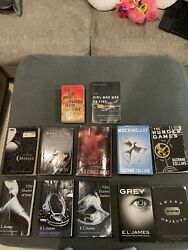 Fifty Shades Of Grey Trilogy Set Book Lot Of 12 Hunger Games Sharp Objects Etc
