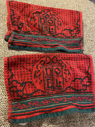 Vintage Pair Of Red And Green Velour Terry Christmas Washcloths Noel