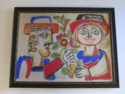 Very Rare Giovanni Desimone Painting On Canvas Abstract Cubist Cubism Italian