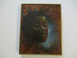 Vintage Black Americana African American Portrait Painting Nose Ring Signed Mod