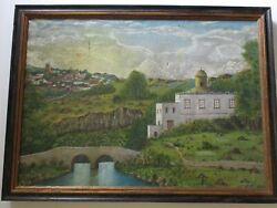 Giles Antique Old Church Mission Town Landscape Painting Mexico South America