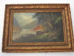 William W Armstrong Painting Antique 19th Century Hudson River Indians Landscape