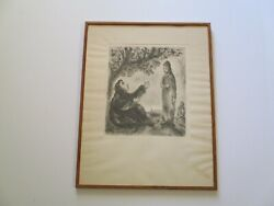 Marc Chagall Etching Bible Icon Portrait Expressionism Modernism Rare Vintage