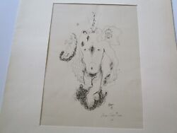 Rare Jean Cocteau Lithograph Hand Signed Vintage Nude Expressionism Abstract
