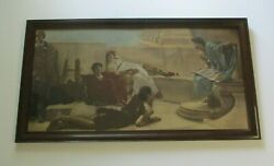 Large Antique Hand Colored Print With Original Frame Theatre Actor Actress Old