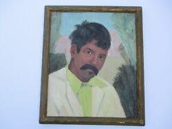 Antique Old Mexican Portrait Painting Mexico South American Mystery Art Wpa Era