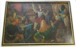 Large Ralph Brown Wpa Era Painting Antique Beer Wine Alcohol Bar 1930and039s Oil Asis