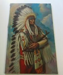 Becerra Painting Large Native American Indian Buffalo Chief With Peace Pipe 48