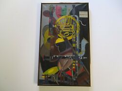 Mid Century Modern Painting Signed Cubist Cubism Musician Instruments Abstract