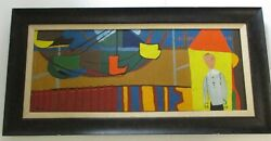 Vintage Abstract Painting Walter Peregoy Carnival Large Cubism Carnival Colorful