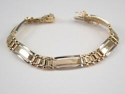 Mens 14k White And Yellow Gold Link Bracelet 8 Great Gift